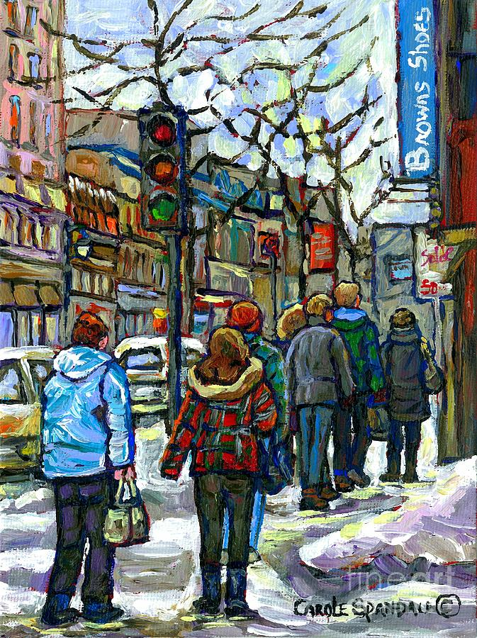 Downtown Girl In Red Plaid Jacket Canadian Winter Scene