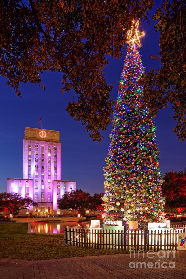 Downtown Houston Christmas Tree And City Hall At Twilight ...