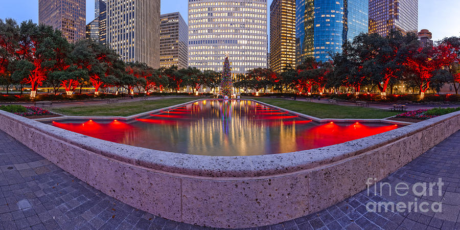 Downtown Houston Skyline Hermann Square City Hall Decked Out In ...