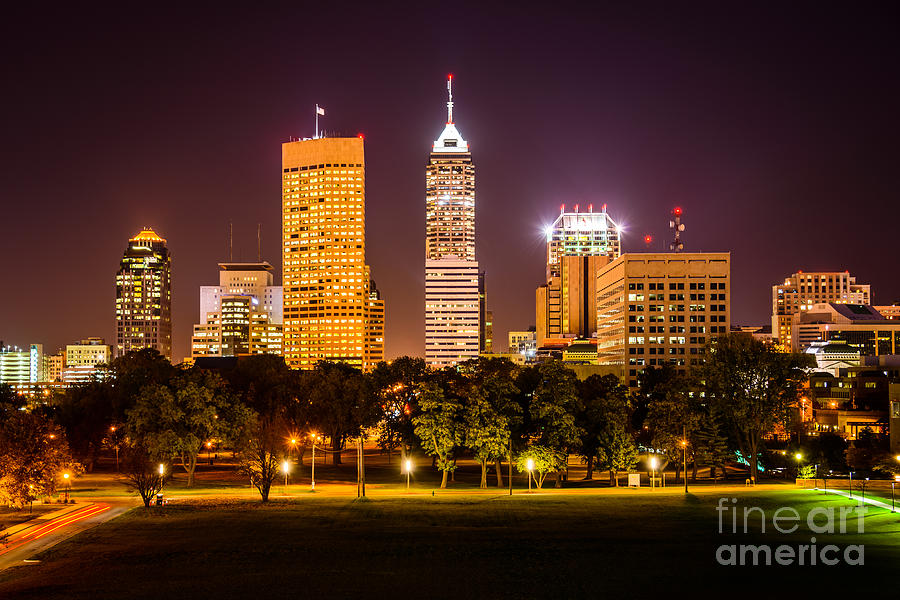 America Photograph - Downtown Indianapolis Skyline At Night Picture by Paul Velgos