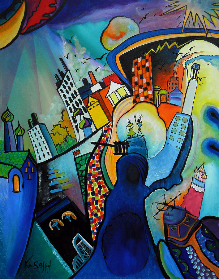 Abstract Painting - Downtown by Ken Caffey
