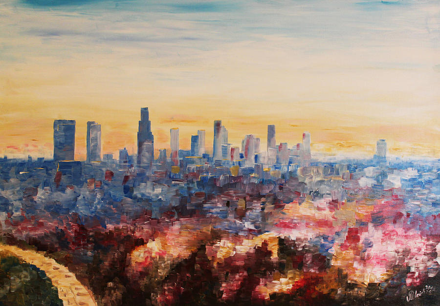 Downtown La Painting - Downtown Los Angeles At Dusk by M Bleichner