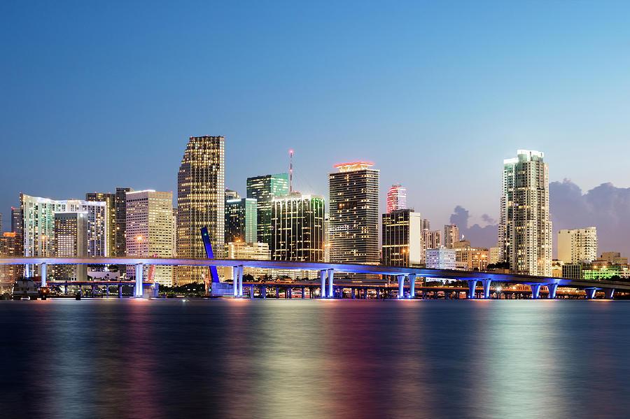 Downtown Miami Skyline At Dusk Photograph by Raimund Koch