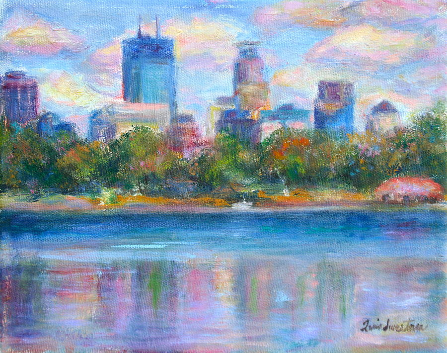 Minneapolis Painting - Downtown Minneapolis Skyline From Lake Calhoun by Quin Sweetman