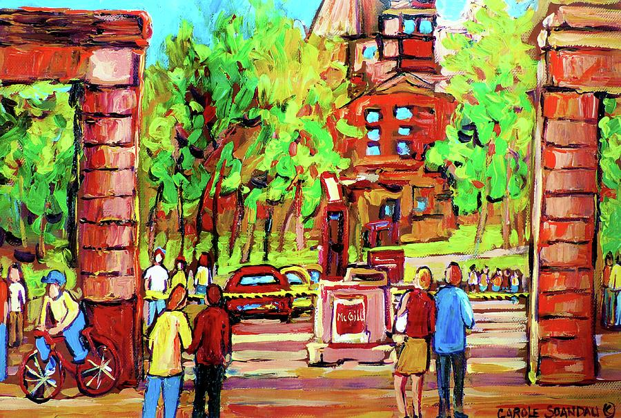 Montreal Painting - Downtown Montreal Mcgill University Streetscenes by Carole Spandau