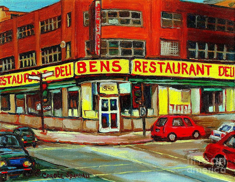 Montreal Painting - Downtown Montreal Memories Bens Restaurant Deli  Le Fameux Smoked Meat Produits By Carole Spandau by Carole Spandau