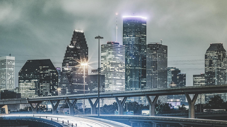 Downtown Of Houston In The Rain At Night Photograph by Onest Mistic