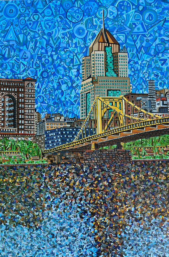 Pittsburgh Painting - Downtown Pittsburgh - Roberto Clemente Bridge by Micah Mullen