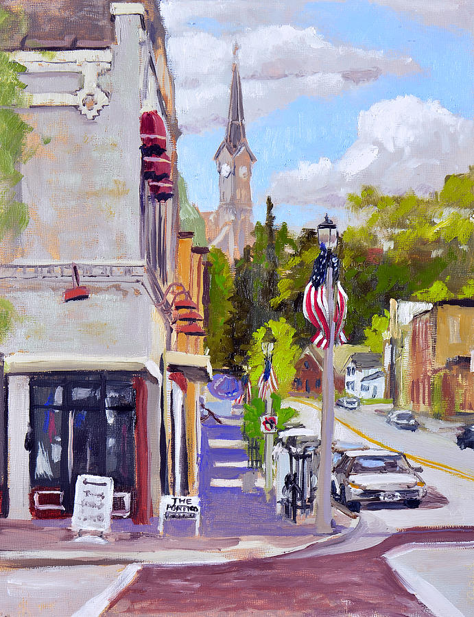 Oils Painting - Downtown Port Washington by Anthony Sell