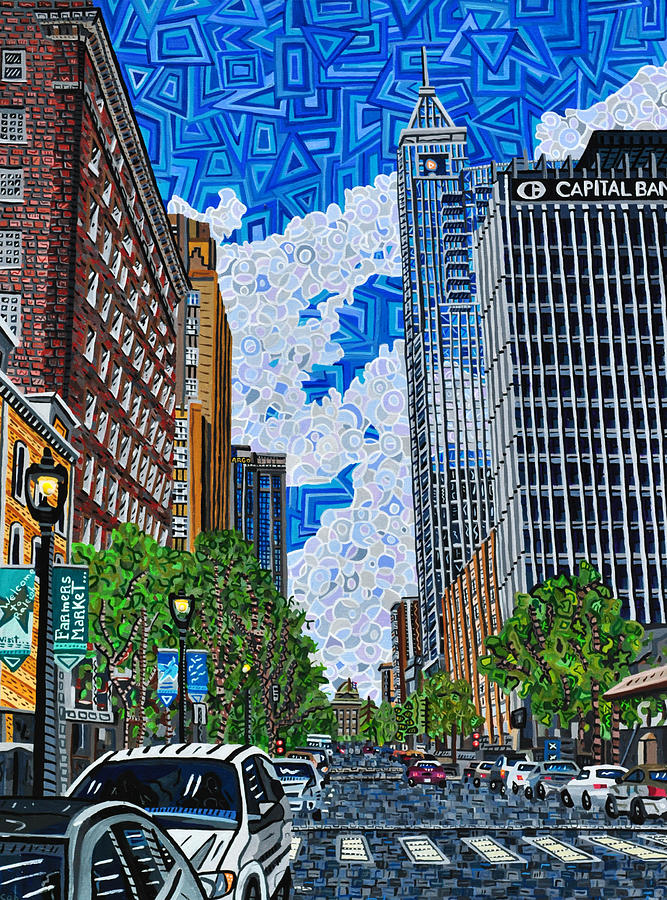 Raleigh Painting - Downtown Raleigh - Fayetteville Street by Micah Mullen
