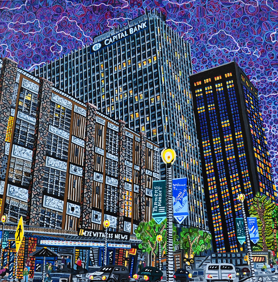 Downtown Painting - Downtown Raleigh - Hudson Building by Micah Mullen