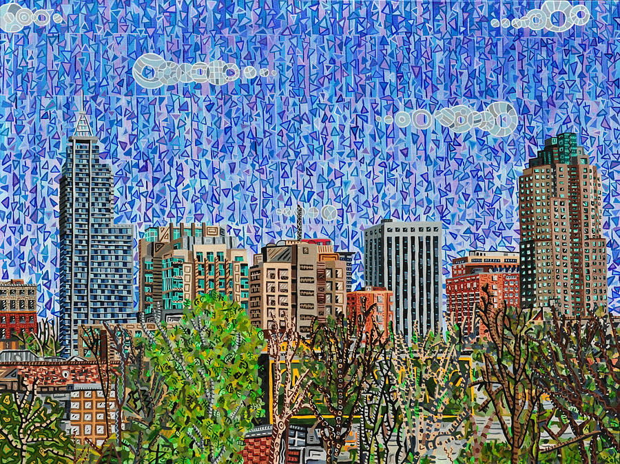 Raleigh Painting - Downtown Raleigh - View From Boylan Street Bridge by Micah Mullen