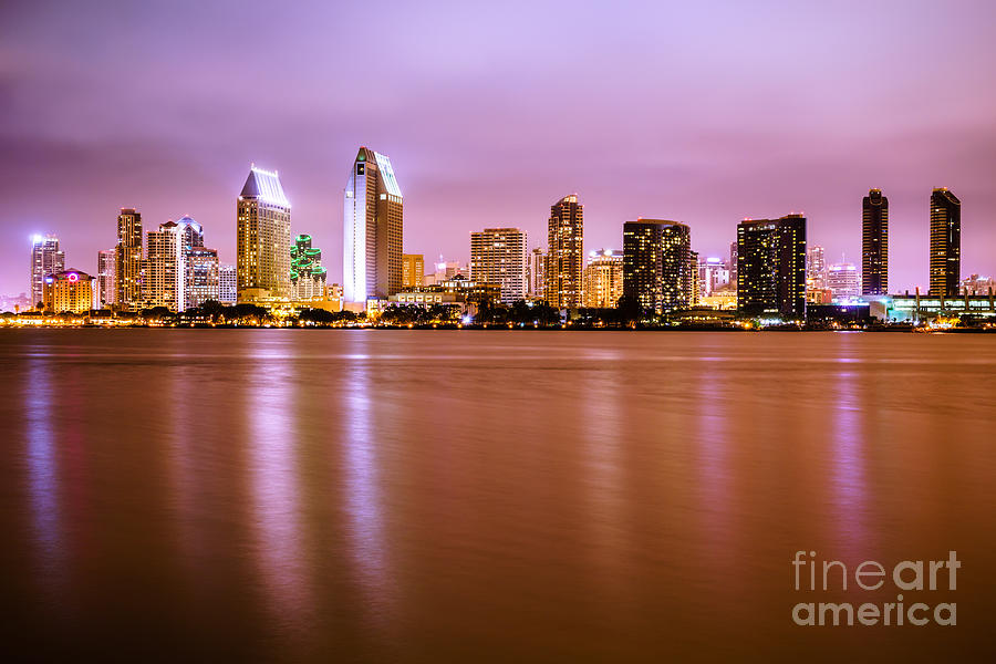 2012 Photograph - Downtown San Diego Skyline At Night by Paul Velgos