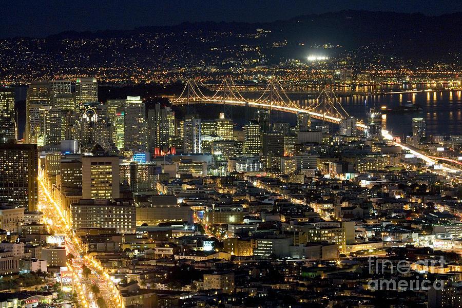 Downtown San Francisco California Skyline Nighshot