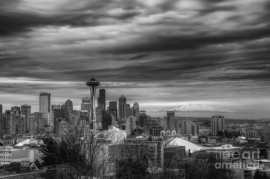 Downtown Seattle Black And White Photograph