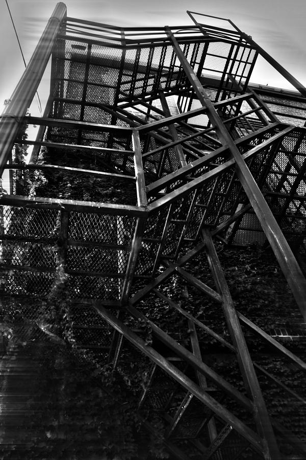 Black And White Photograph Photograph - Downtown Stairs by Kenal Louis