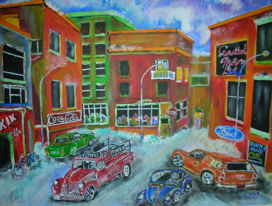 Dodge Truck Painting - Downtown  Traffic by Michael Litvack
