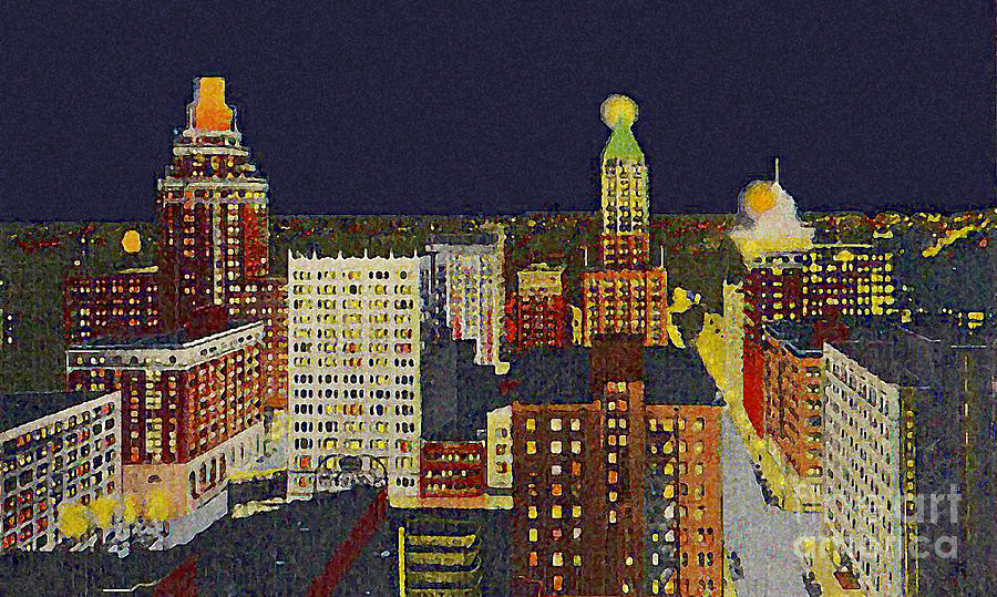 Downtown Painting - Downtown Tulsa At Night Around 1940 by Dwight Goss