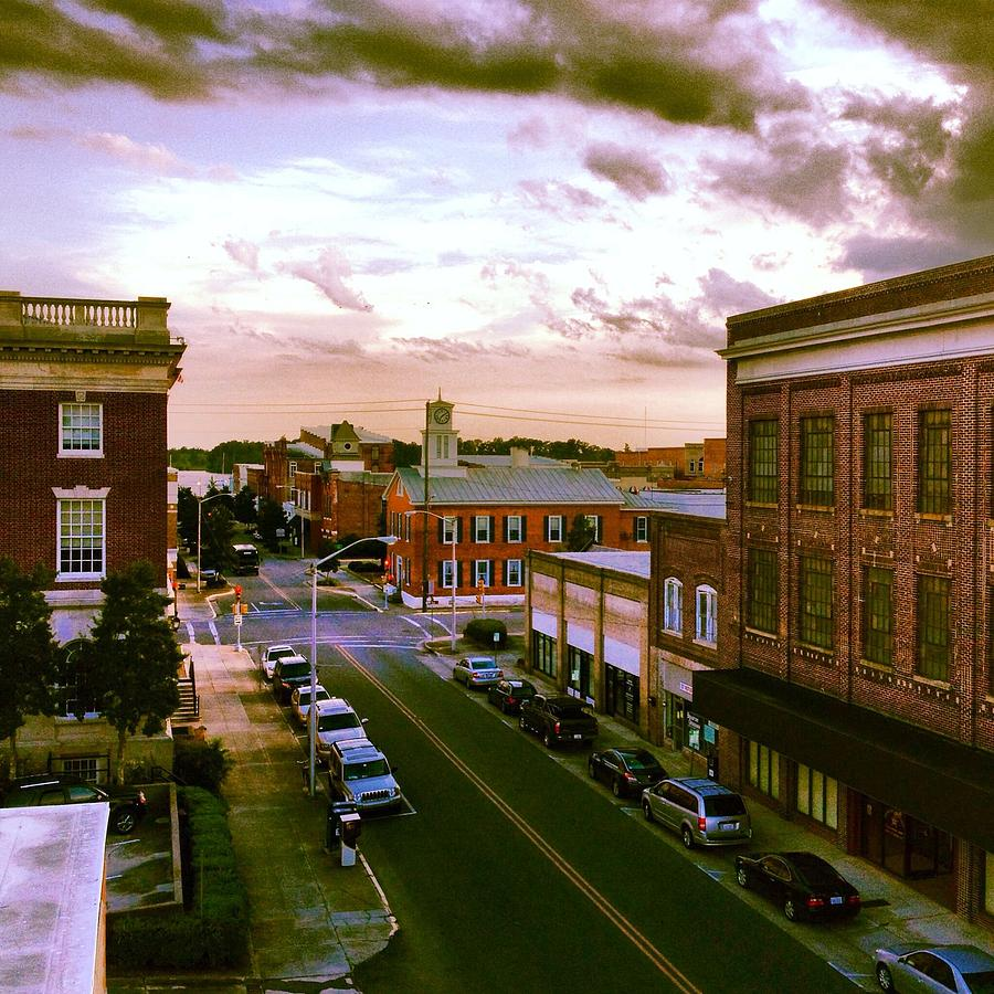 Roof Top View Of Market Street Washington Photograph - Downtown Washington Nc by Joan Meyland