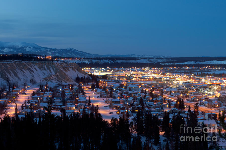 Downtown Whitehorse Yukon T Canada At Winter Night