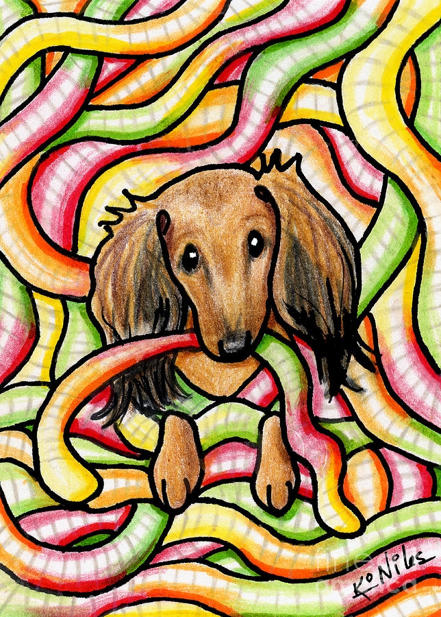 Candy Drawing - Doxie In Candy Worms by Kim Niles