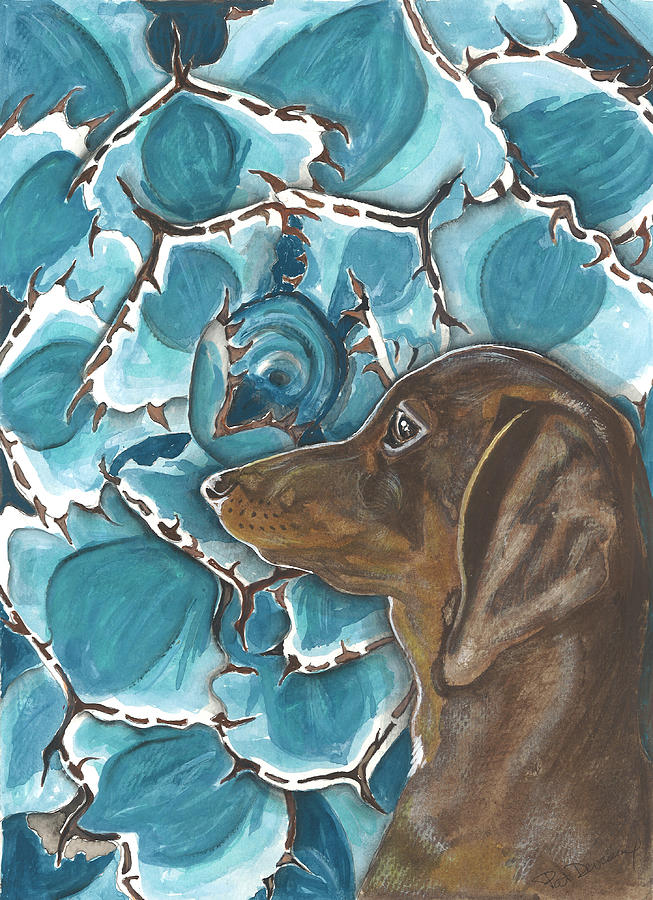 Dachshund Painting - Doxie With Cactus by Pat Devereaux