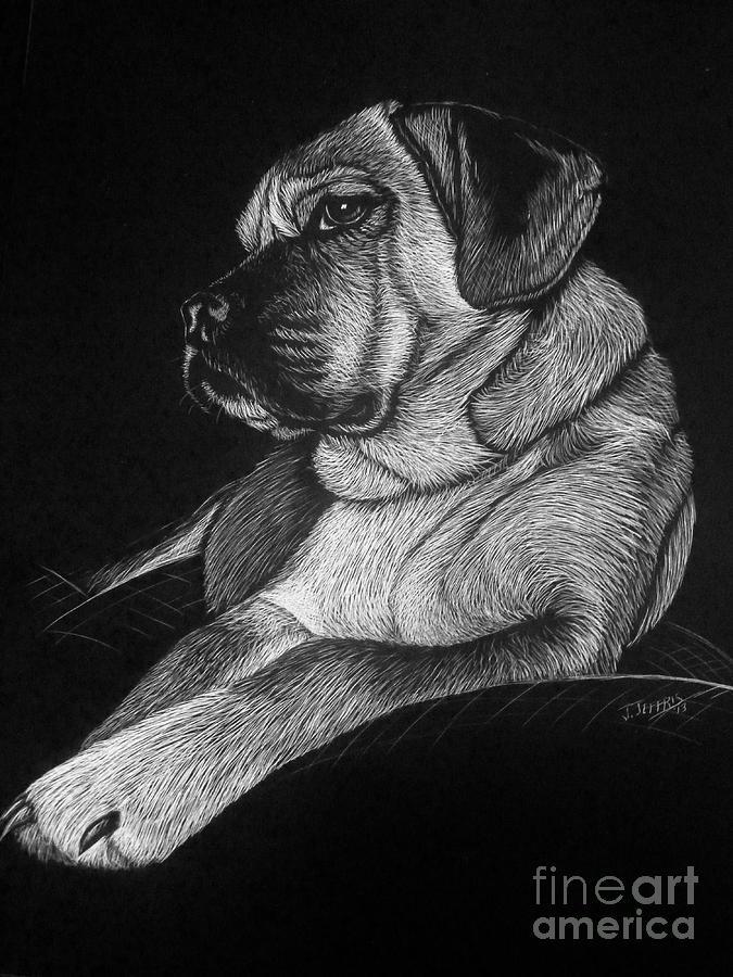 Puggle Painting - Dozer by Jennifer Jeffris