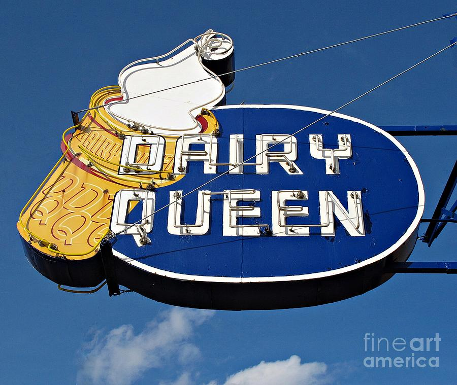 Sign Photograph - Dq Cone Sign by Ethna Gillespie