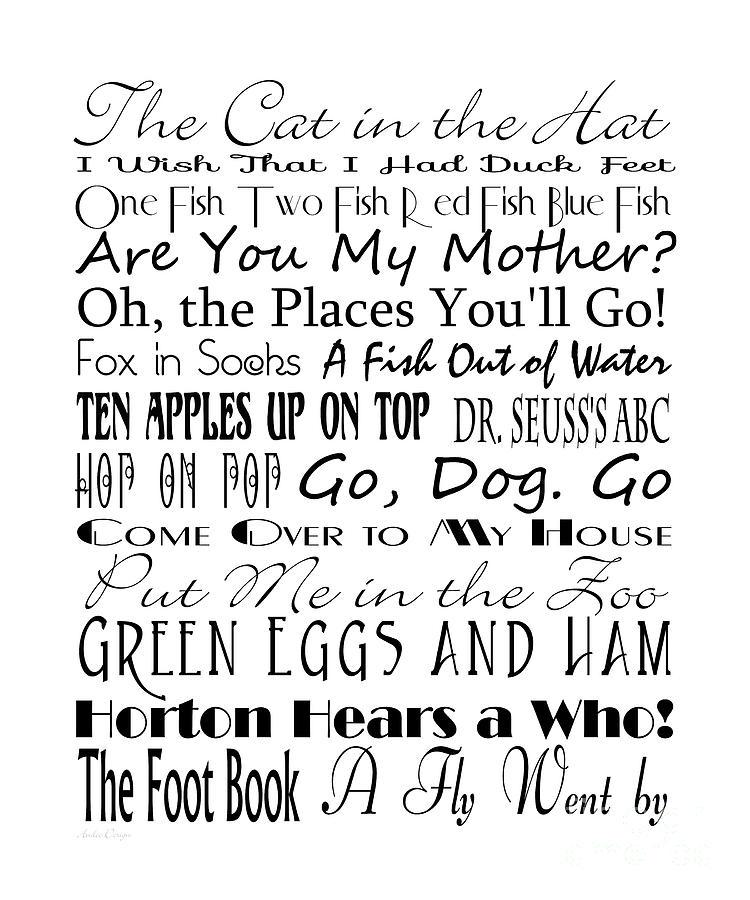 Dr Seuss Digital Art - Dr Seuss Books 4 by Andee Design