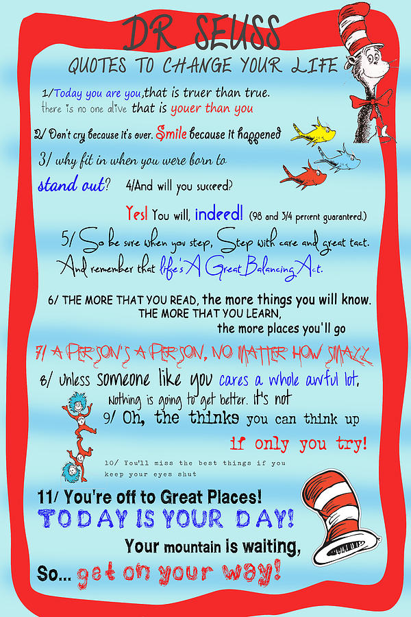 Dr Seuss Quotes To Change Your Life Digital Art By Georgia Fowler
