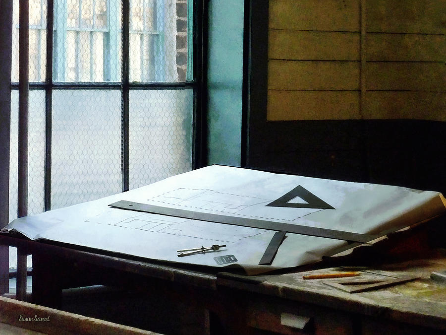 Drafting Photograph - Drafting - Triangle Ruler And Compass by Susan Savad