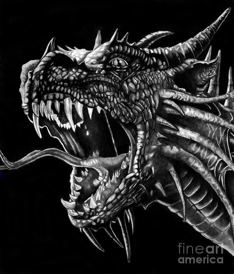 Dragon Drawing - Dragon by Bill Richards