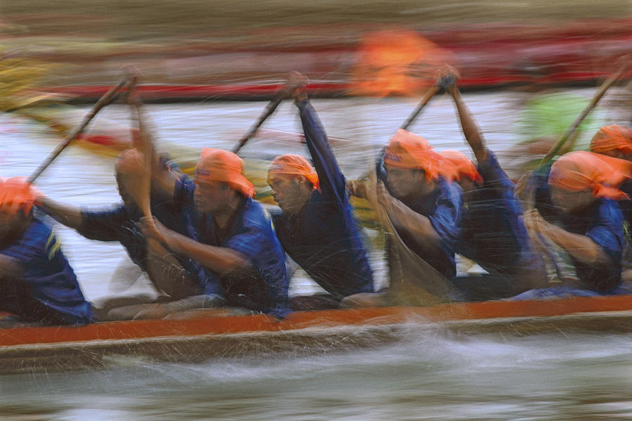 Competition Photograph - Dragon Boat Racing Thailand by Richard Berry