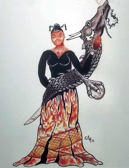 Oriental Drawing - Dragon by Cortney Haynes