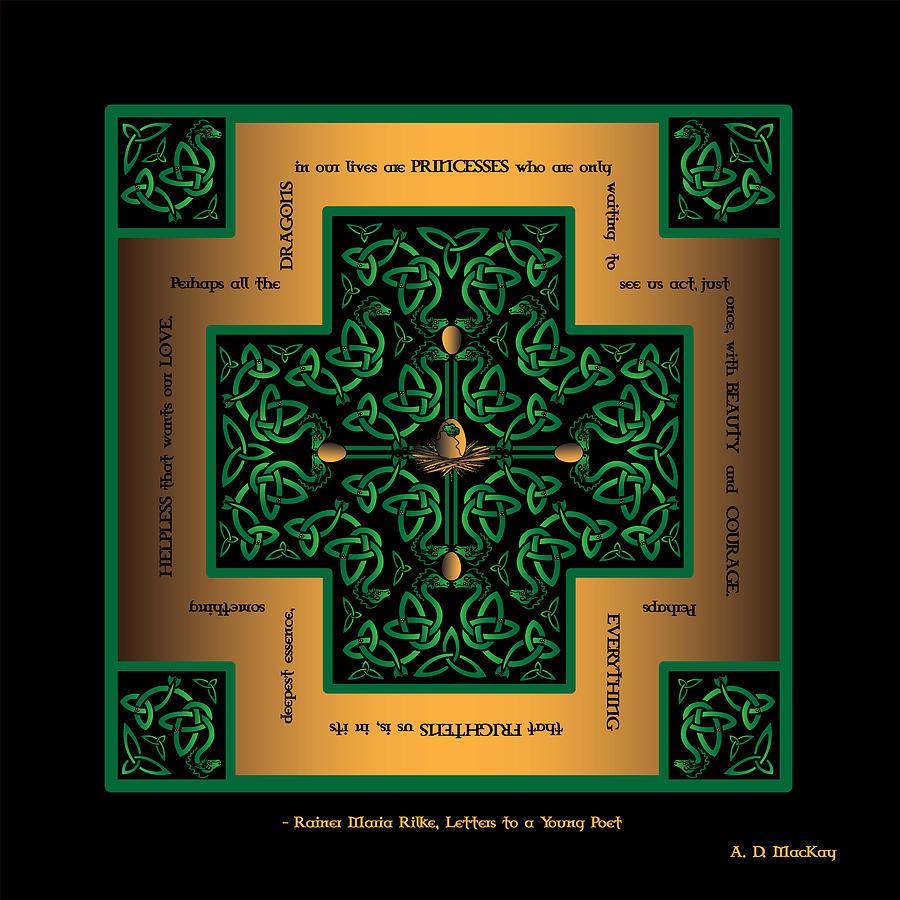 Celtic Knots Digital Art - Dragon Egg Celtic Cross by Celtic Artist Angela Dawn MacKay