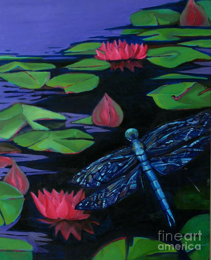 Dragon Fly Painting - Dragon Fly - Botanical by Grace Liberator