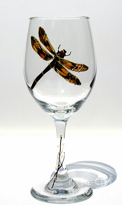 Hand Painted Wine Glassware Glass Art - Dragon Fly by Pauline Ross
