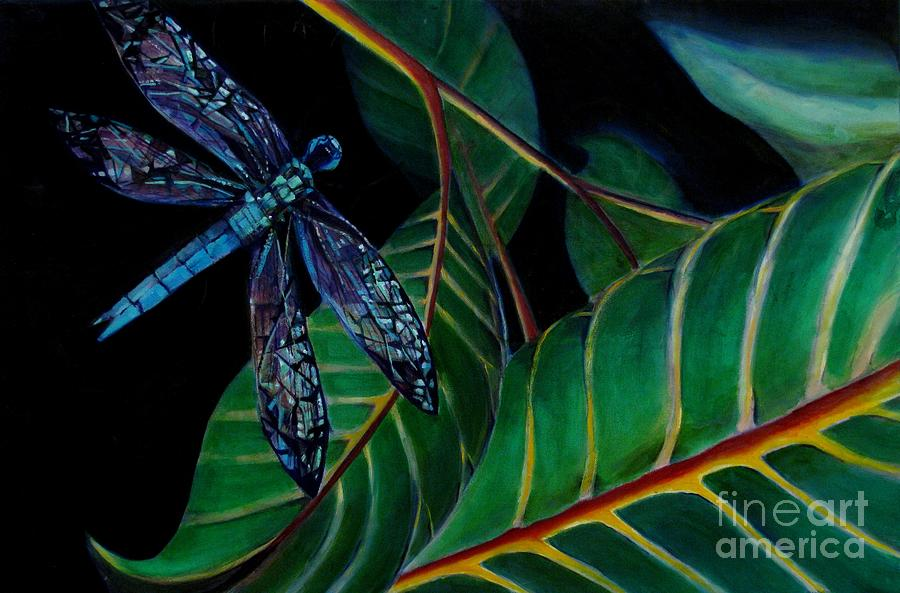 Dragon Fly Painting - Dragon Fly Soaring - Botanical by Grace Liberator
