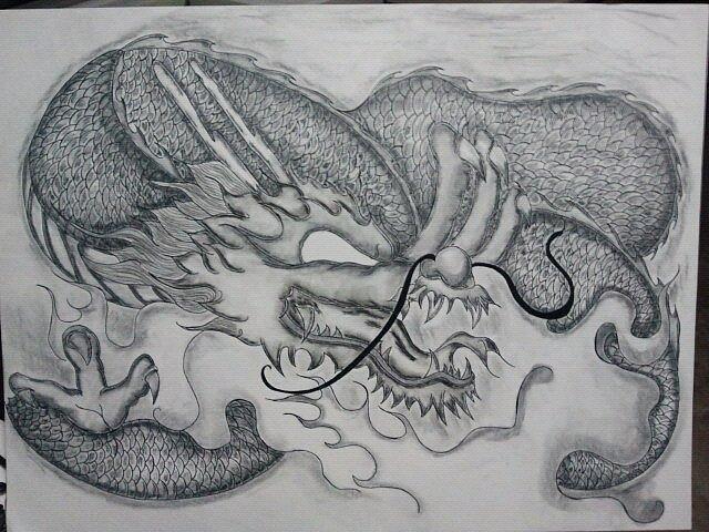 Asiandragon Drawing - Dragon by Kristin Smith
