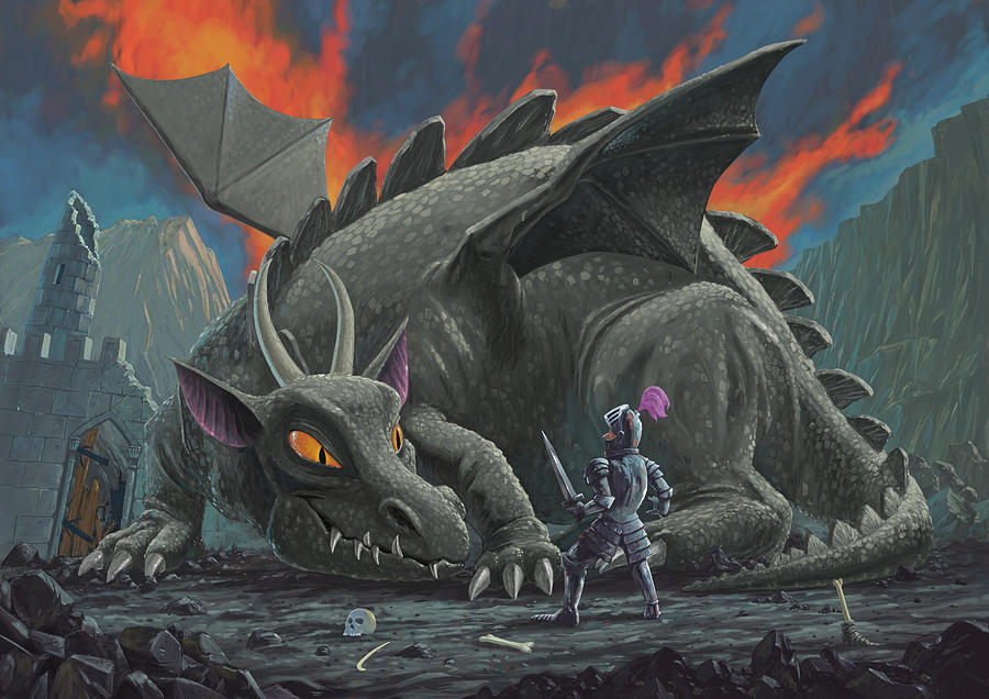 Dragon Painting - Dragon Looking At Next Meal by Martin Davey