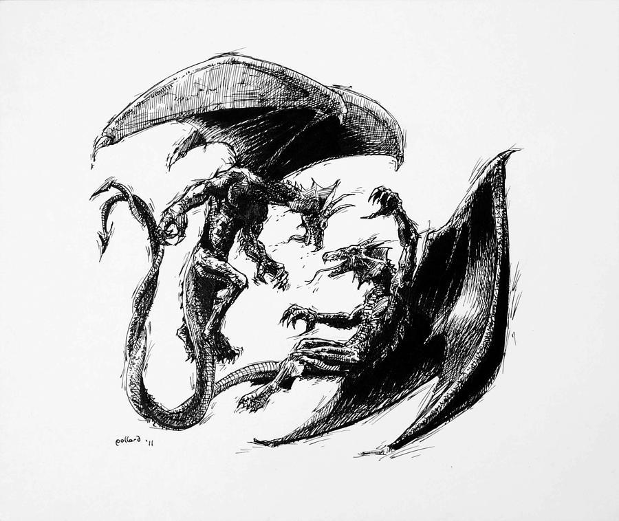 Dragon Drawing - Dragon Love by Glenn Pollard