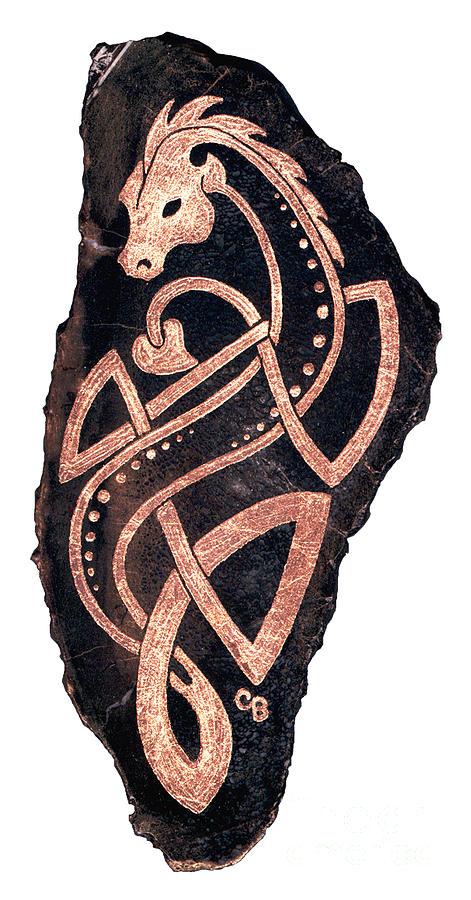 Celtic Painting - Dragon On Dinosaur Bone by Cari Buziak