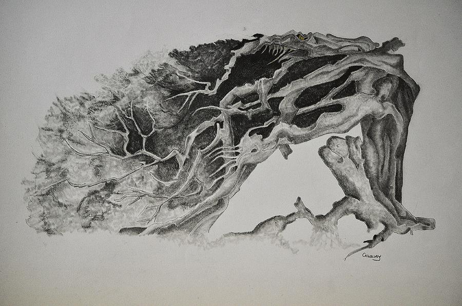 Dragon Drawing - Dragon Tree With People by Glenn Calloway
