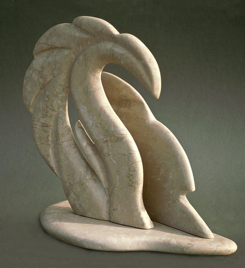 Marble Sculpture - Dragon Wave by Lonnie Tapia
