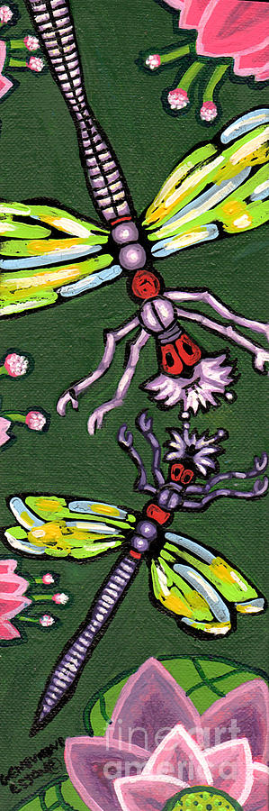 Dragonflies And Water Lilies Painting