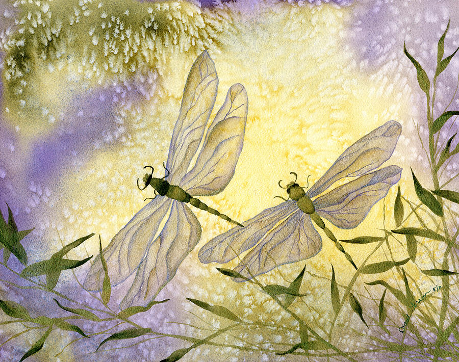 Dragonflies Painting by Diane Ferron