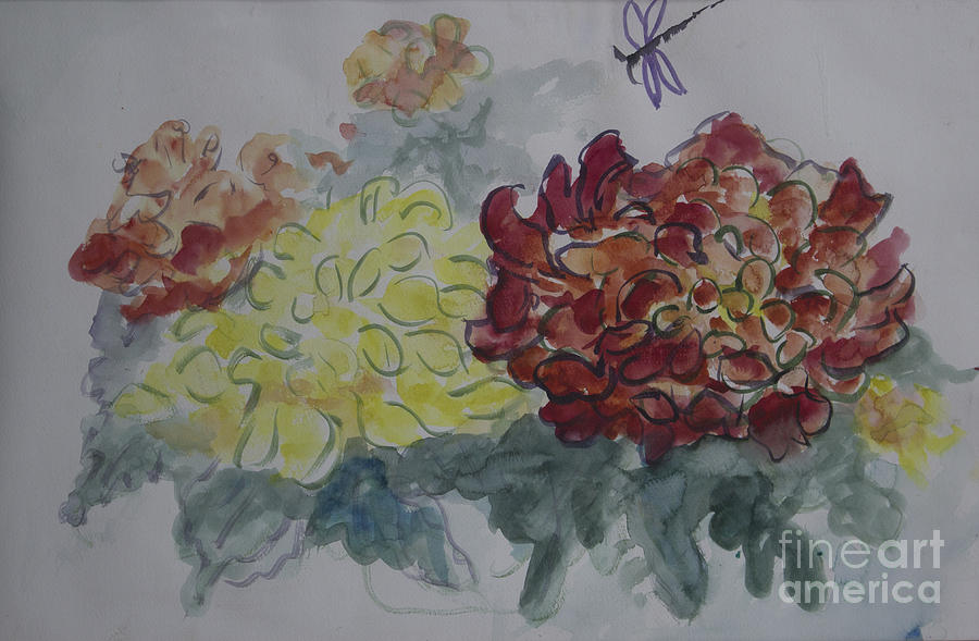 Chrysanthemums Painting - Dragonfly Among Chrysanthemums by Avonelle Kelsey