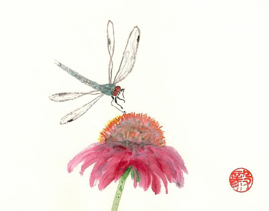 Bright Painting - Dragonfly Flower by Terri Harris