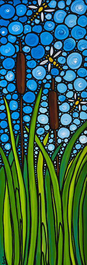 Dragonfly Painting - Dragonfly Pond By Sharon Cummings by Sharon Cummings