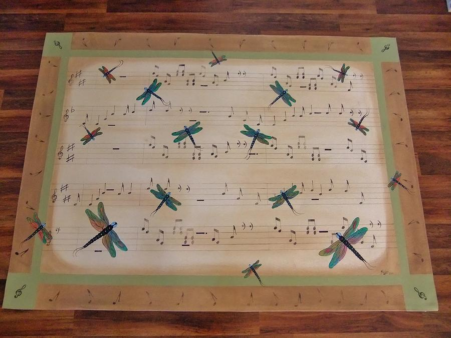 Dragonfly Painting - Dragonfly Symphony 64x45 Art For Your Floor by Cindy Micklos